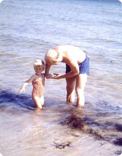 far og jeg på Dueodde strand